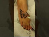 Татуировка на ноге. Бабочка. Татуировки в Гомеле